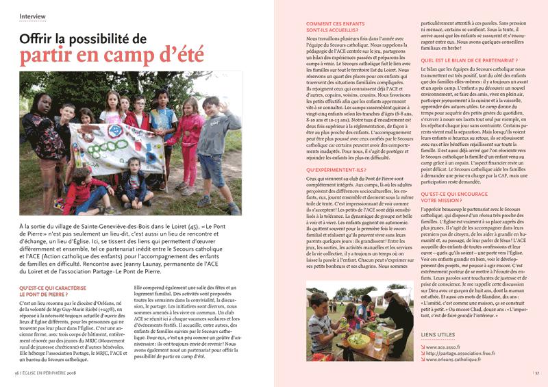 Article sur les camps d'été du rapport 2018 Eglise en périphérie