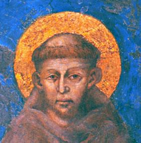 Francois d'Assises sur une fresque de Cimabue dans la basilique d'Assise