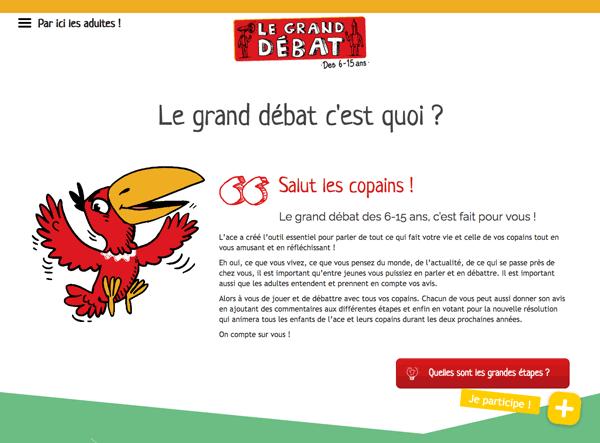 Site internet du Grand debat des 6-15ans